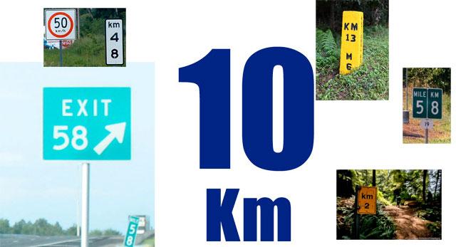 Дорожные знаки, столбы, указатели с отметкой километров