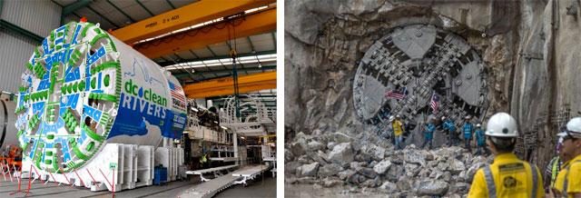 Новёхенькая тоннеле-буровая машина и бурильная машина, завершающая работу в скале